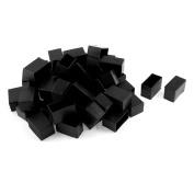Unique Bargains 50 Pcs Antislip Plastic Rectangle 40mm x 20mm Chair Foot Cover Table Furniture Leg Protector Black