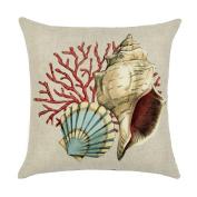 Originaltree Square Mediterranean Style Pillow Cover Conch Shell Linen Throw Cushion Case for Home Decor