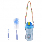 Prettyia Kids Leak-Proof Water Sport Cap Water Bottle Straw Cup with Clean Brush