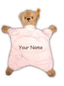 Personalised Sleep Well Bear Baby Girl Pink Polka Dot Comforter Snuggle Blanky Baby Blanket - 33cm