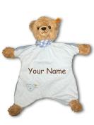 Personalised Sleep Well Bear Baby Boy Blue Striped Comforter Snuggle Blanky Baby Blanket - 33cm
