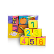 Amyove 6pcs/Set 7cm Baby Cloth Building Blocks with Rattle Infants Puzzle Colourful Cloth Toys Gift