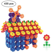 Building Blocks,iDeep 435pcs Snowflake Block Colourful Construction Building Bricks with 12 Axis Plastic Building Discs Brains Flakes Educational Toys Set Kids Building Toys for Children with Carry Bag