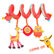 Labebe Baby Hanging Toy with Rattle & Stuffed Animal, Yellow Giraffe & Owl Crib Toy for Infant, Baby Toy Car Seat/Toy Baby Stroller/Toy Crib/Spiral Toy/Baby Crib/Toy Stroller/ Baby Toy Crib/Toy Toddler