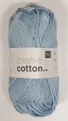 RICO CREATIVE COTTON ARAN HAND KNITTING YARN - 50g 32 Light Blue by Rico Design