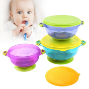 Zooawa Baby Stay Put Suction Bowls, 3-PACK Nonslip Spill Proof Feeding Training Bowl Dinnerware Set with Seal Easy Lid for Babies, BPA-Free, for Over 6 Months Infants, 3PCS