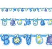 Blue It'S A Boy Cute Clothesline Baby Shower Party Jointed Banner Decoration