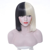 36cm Short Straight Synthetic Hair Wig Two Tones Colour Bob Cosplay Costume Wig