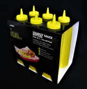 Pack of 6 Sleeves Squeezy Sauce Yellow Bottles 680ml / 24oz
