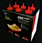 Pack of 6 Sleeves Squeezy Sauce Red Bottles 680ml / 24oz