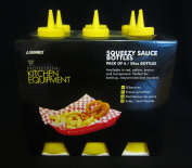 Pack of 6 Sleeves Squeezy Sauce Yellow Bottles 340ml / 12oz