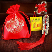 Feng Shui Coins for Wealth and Success with Chinese Knot Five Emperor Money