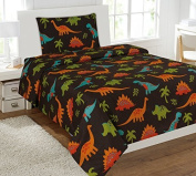 WPM Dinosaur Brown print bedding set choose from Full/Twin comforter or bed sheets or window curtains panels for kids/girls/boys room