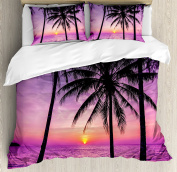 Ocean Decor Duvet Cover Set Queen Size by Ambesonne, Palm Trees Silhouette at Sunset Dreamy Dusk Warm Twilight, Decorative 3 Piece Bedding Set with Pillow Shams