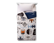 Star Wars Classic White Blue Reversible Comforter (Twin) with R2D2, Darth Vader, Falcon