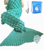 LAGHCAT Mermaid Tail Blanket with Scale Knit Crochet Mermaid Blanket for Adult,Sleeping Blanket,180cm x 90cm , Green