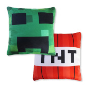 "Kids' Pillow Cover Set (TNT & Creeping Face, 12"" x 12"") Mining Fun Pillowcase, Minecraft and Video Game Inspired, Room Decoration, Fun Christmas or Birthday Gift"
