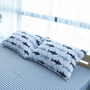 BuLuTu Cotton Navy/Grey Shark Print Bed Pillowcases Set of 2 Queen White Fish Pillow Covers Decorative Standard For Boys Girls Envelope Closure End