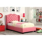 Furniture of America Harla Twin Tufted Leather Upholstered Bed in Pink