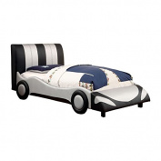 Furniture of America Hamlin Full Race Car Bed in Black and Silver