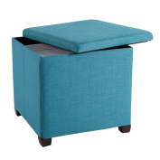 LANGRIA Foldable Storage Ottoman Large Footrest Stool Coffee Table Lift Top, Teal