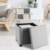 LANGRIA Ottomans Foot Stool Folding Storage Bench Square Ottoman Coffee Table, Premium Linen Ottoman with Pull-off Lid and Legs Collapsible Stool Space Saving Furniture 17 x 43cm x 43cm , Grey)