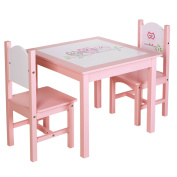 SONGMICS Kids Wood Table and 2 Chairs Set for Toddles Girls Owl Theme Pattern Pink ULKF01PK