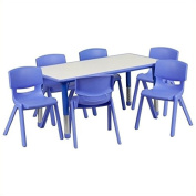 Pemberly Row Plastic Activity Table Set with 6 School Stacking Chairs in Blue