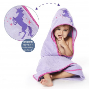 Girls Hooded UNICORN Towel 100% Cotton Purple 35 x 35 by Bluenido