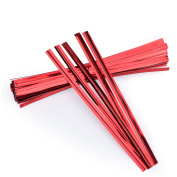 Easytle 100Pcs 10cm Red Metallic Twist Ties Foil Twist Ties For Cello Bags Pastry Bags Treat Bags In Birthday Party Wedding Party