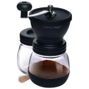 Manual Coffee Mill Grinder with Ceramic Burrs , Two Clear Glass Jars,Stainless Steel Handle and Silicon Cover