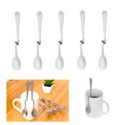 5 Pcs Coffee Spoons, Stainless Steel Bending Hanging Creative Coffee Spoons Dessert Spoons Tea Coffee Scoops
