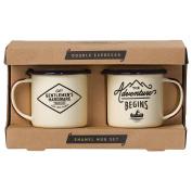Wild and Wolf AMRM163 Gentlemen's Hardware Adventure Enamel Espresso Mug Set, Cream
