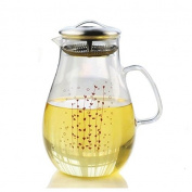 Gobize 1890ml Large Waterplant Pattern Heat Resistant Borosilicate Water Pitcher with Stainless Steel Lid, Hot or Cold Water Jug glass carafe with Lid Stove-top Safe