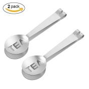 Tea Bag Spoon - Aieve 2 Pack Stainless Steel Tea Bag Strainer Tea Bag Squeezer Tongs Tea Bag Holder Grip Metal Spoon Mini Sugar Clip Kitchen Bar Ice Cubes Tools