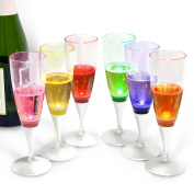 INNOKA [LED Champagne Flute] Clear Plastic Glass Like Champagne Flute (Set of 6 Multi-Colour) Perfect for Wedding Parties Toasting Special Occassions