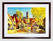 VILLAGE SCENE KERSEY SUFFOLK ENGLAND CHURCH POND FRAMED ART PRINT B12X12264