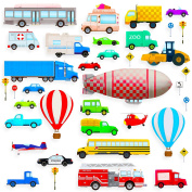 Transport and Vehicle Wall Stickers for a Nursery. Repositionable (Peel & Re-Stick) with a huge number of cars, vans and trucks! (Large Size, 2 rolls) …