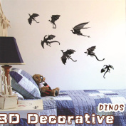 Kfnire 21pcs 3D Removable Dragon Wall Stickers Halloween Vinyl Wall Decal Home Décor