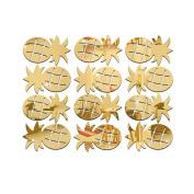dragonaur 12Pcs/Set Cute Pineapple Acrylic Mirror Wall Stickers Decal Room Decor size Medium