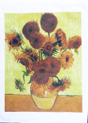 15 Sunflowers by Vincent van Gogh - Large Cotton Tea Towel by Half a Donkey