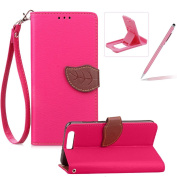 Strap Leather Case for Huawei Honour 9,Hot Pink Wallet Flip Cover for Huawei Honour 9,Herzzer Classic Unique Magnetic Leaf Buckles Design Full Body Card Slots Stand Folio Synthetic Leather Case with Soft Silicone