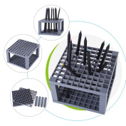 96 Holes Plastic Pencil and Brush Holder, Desk Stand Pencil Brush Organiser Holder, Plastic Detachable Stand for Drawing Markers, Paint Brushes, Coloured Pencils, Makeup Tools
