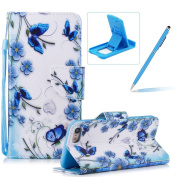 Strap Leather Case for iPhone 7,Flip Portable Carrying Case for iPhone 8,Herzzer Premium Stylish Blue Butterflies Printed Foldable Full Body Folio Pu Leather Stand Cover with Card Slots