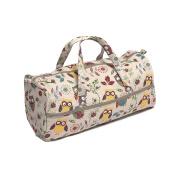 Hobby Gift MR4698/29 Owl Print on Natural Craft/Knitting Storage Bag 15x42x17½cm