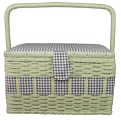 Prym Gingham Country-Style Sewing Basket with Basketry Trim, Cotton, Brown/White, Large