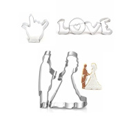Bazaar 7Pcs Bride Groom Stainless Steel Cookie Cutter Mould Love Biscuit Fondant Cutter Cake Decorating Tool