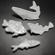 Bazaar Fish Shaped Fondant Cake Cookie Embosser Cutter Mould 4Pcs