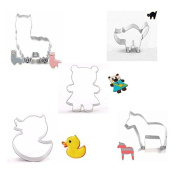 Bazaar 5Pcs Animal Stainless Steel Cookie Cutter Mould Bear Biscuit Fondant Cutter Cake Decorating Tool