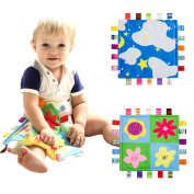 INCHANT Baby Gift Taggies Keepsake 100% Cotton Handmade Comforter Security Blanket - 20 Tags, 2 PCS